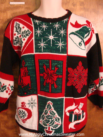 Checkerboard Holiday Fun Bad Christmas Sweater