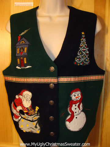 Tacky Ugly Christmas Sweater Vest with Santa, Snowman, Tree and Winter Home  (f715)