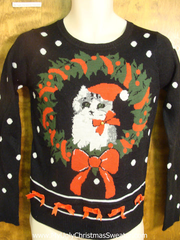Cat in the Wreath Child Christmas Sweater