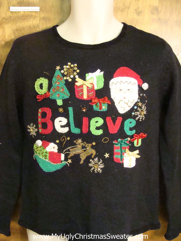 BELIEVE Bad Christmas Sweater