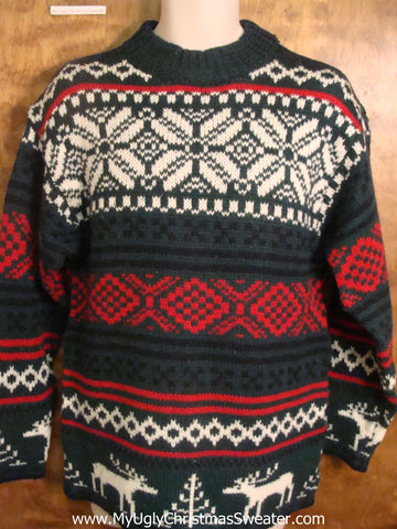 Red, White, and Green Nordic Bad Christmas Sweater
