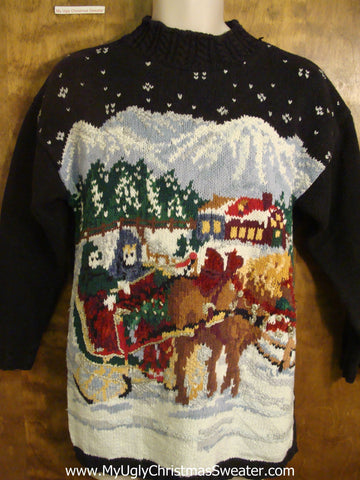 One Horse Sleigh Bad Christmas Sweater