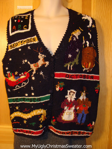 Tacky Ugly Christmas Sweater Vest for 5 Months of Tacky Fun (Back to School, Halloween, Pilgrams, Santas Sleigh, and Happy New Year) (f716)