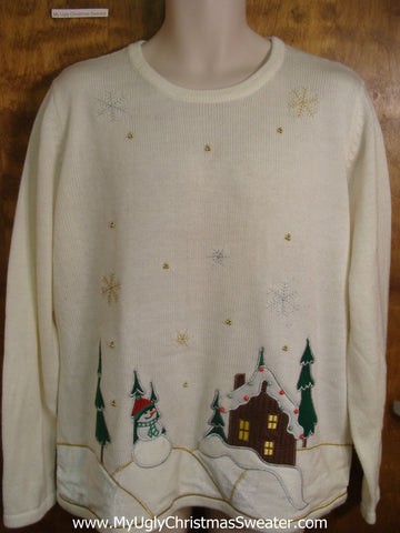 Snowy House Bad Christmas Sweater