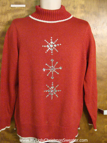 Glam Bling Snowflakes Cheap Bad Christmas Sweater