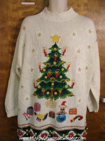 80s Christmas Tree Scene Bad Christmas Sweater
