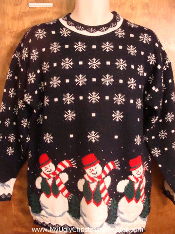 Candy Cane Striped Snowmen Bad Christmas Sweater