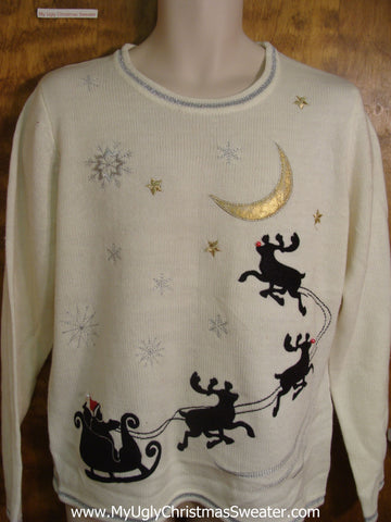 Santa Flying with Reindeer Bad Christmas Sweater