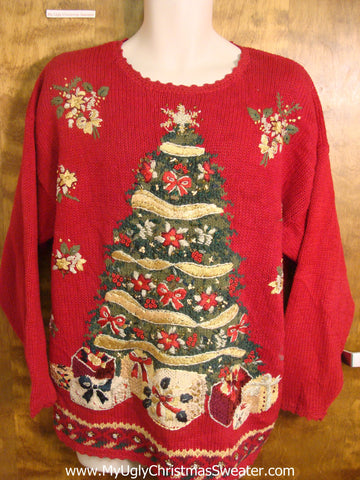 Festive Decorated Tree Bad Christmas Sweater