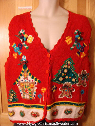 Tacky Ugly Christmas Sweater Vest with 80s Gingerbread Theme with 3D Buttons, Bows, and Pom Poms  (f717)