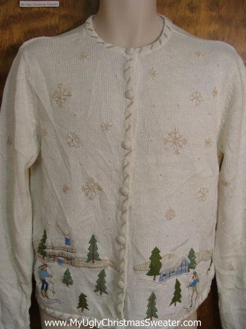 Cross-Country Skiing Bad Christmas Sweater