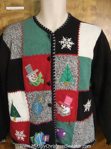 Snowmen and Decorations Galore Bad Christmas Sweater