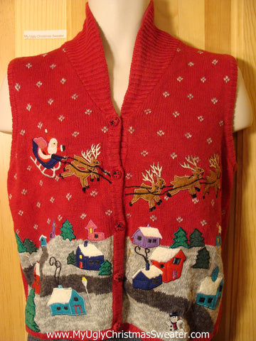 Tacky Ugly Christmas Sweater Vest with Santa and Reindeer Flying over a Winter Wonderland Town (f718)