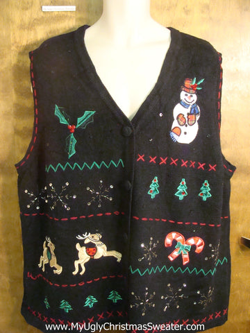 Bling Decorations Bad Christmas Sweater Vest