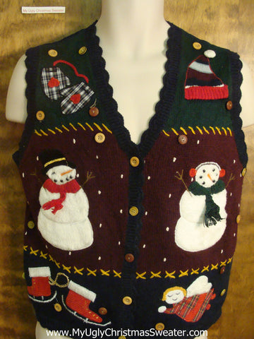 Happy Waving Snowmen Bad Christmas Sweater Vest