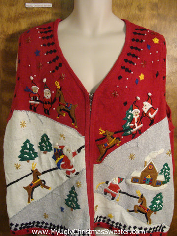Santa and Reindeer Delivering Presents Bad Christmas Sweater Vest