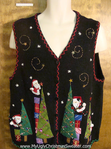 Santas Decorating Trees Funny Christmas Sweater Vest