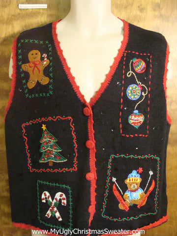 Teddy Bear Ski Jumping Funny Christmas Sweater Vest