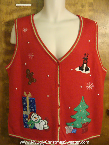 Snowman and Rudolph Hanging Out Funny Christmas Sweater Vest