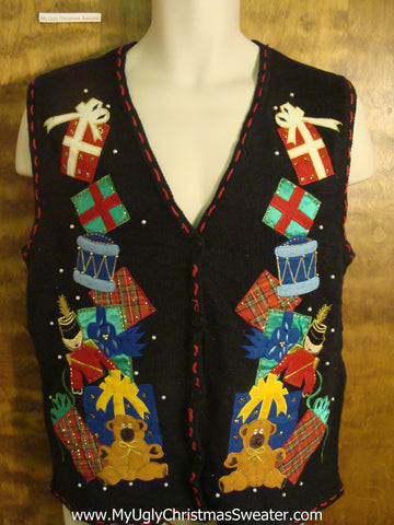 Presents Stacked High Funny Christmas Sweater Vest