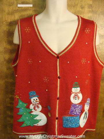 Snowmen with Presents Funny Christmas Sweater Vest