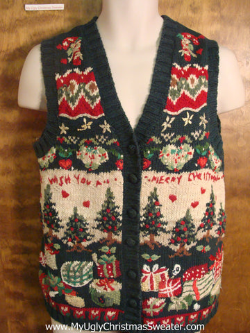 WISH YOU A MERRY CHRISTMAS Funny Christmas Sweater Vest