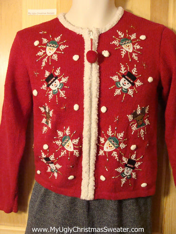 Tacky Ugly Christmas Sweater with Furry Trim and Snow-Framed Santa, Snowmen, and Reindeer (f721)