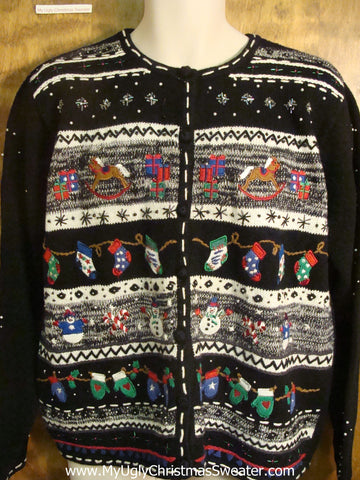 Stockings Hung In A Row Funny Christmas Sweater