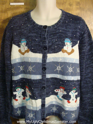 Snowmen Slipping and Sliding Funny Christmas Sweater