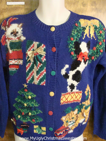 Kittens Playing in Decorations Funny Christmas Sweater