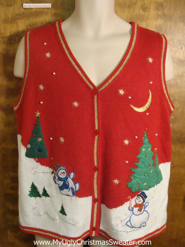 Jolly Snowmen Funny Christmas Sweater Vest
