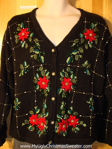Tacky Ugly Christmas Sweater with Red Bright Poinsettias and Gold Bling (f722)