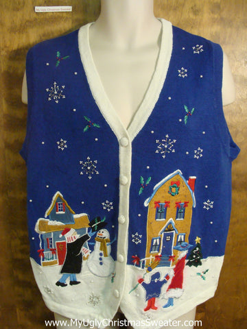 Family Building Snowman Funny Christmas Sweater Vest