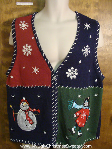 Snowmen and Skating Cat Funny Christmas Sweater Vest