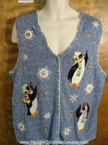 Penguins in Scarves and Hats Funny Christmas Sweater Vest