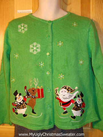 Tacky Ugly Green Christmas Sweater with Skating Santa, Reindeer, and Snowmen Wearing Leopard Clothing (f723)