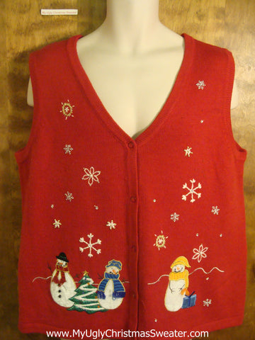 Christmasy Snowmen Funny Christmas Sweater Vest
