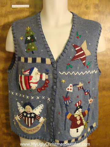 Patriotic Santa and Friends Funny Christmas Sweater Vest