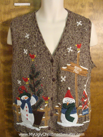 Snowman at the North Pole Funny Christmas Sweater Vest
