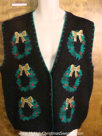 Tacky Wreaths Funny Christmas Sweater Vest