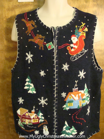 Santa Flying Up Funny Christmas Sweater Vest