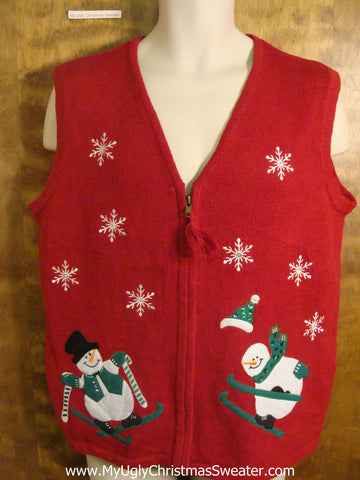 Happy Skiing Snowmen Funny Christmas Sweater Vest