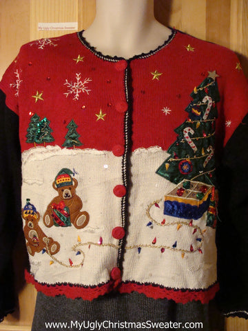 Tacky Ugly Christmas Sweater with Bear Family Decorating their Tree in the Winter Wonderland (f725)