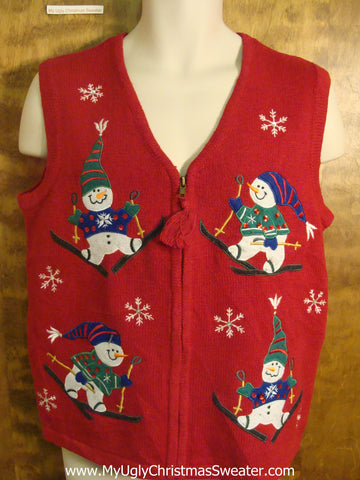 Colorful Snowmen Skiing Funny Christmas Sweater Vest