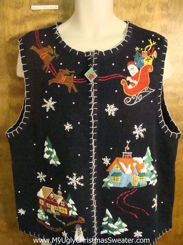 Flying Santa Funny Christmas Sweater Vest