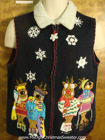 80s Reindeer Party Funny Christmas Sweater Vest