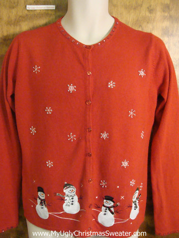 Happy Dancing Snowmen Funny Christmas Sweater