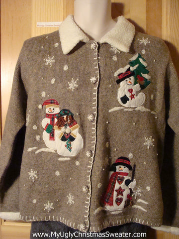 Tacky brown Ugly Christmas Sweater with Festive Snowmen and a Furry Collar (f727)