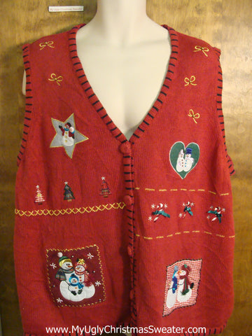 Love-bug Snowmen 4xl Plus Christmas Sweater Vest
