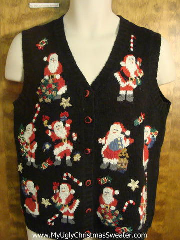 Santa Playing with Candy Canes Funny Christmas Sweater Vest